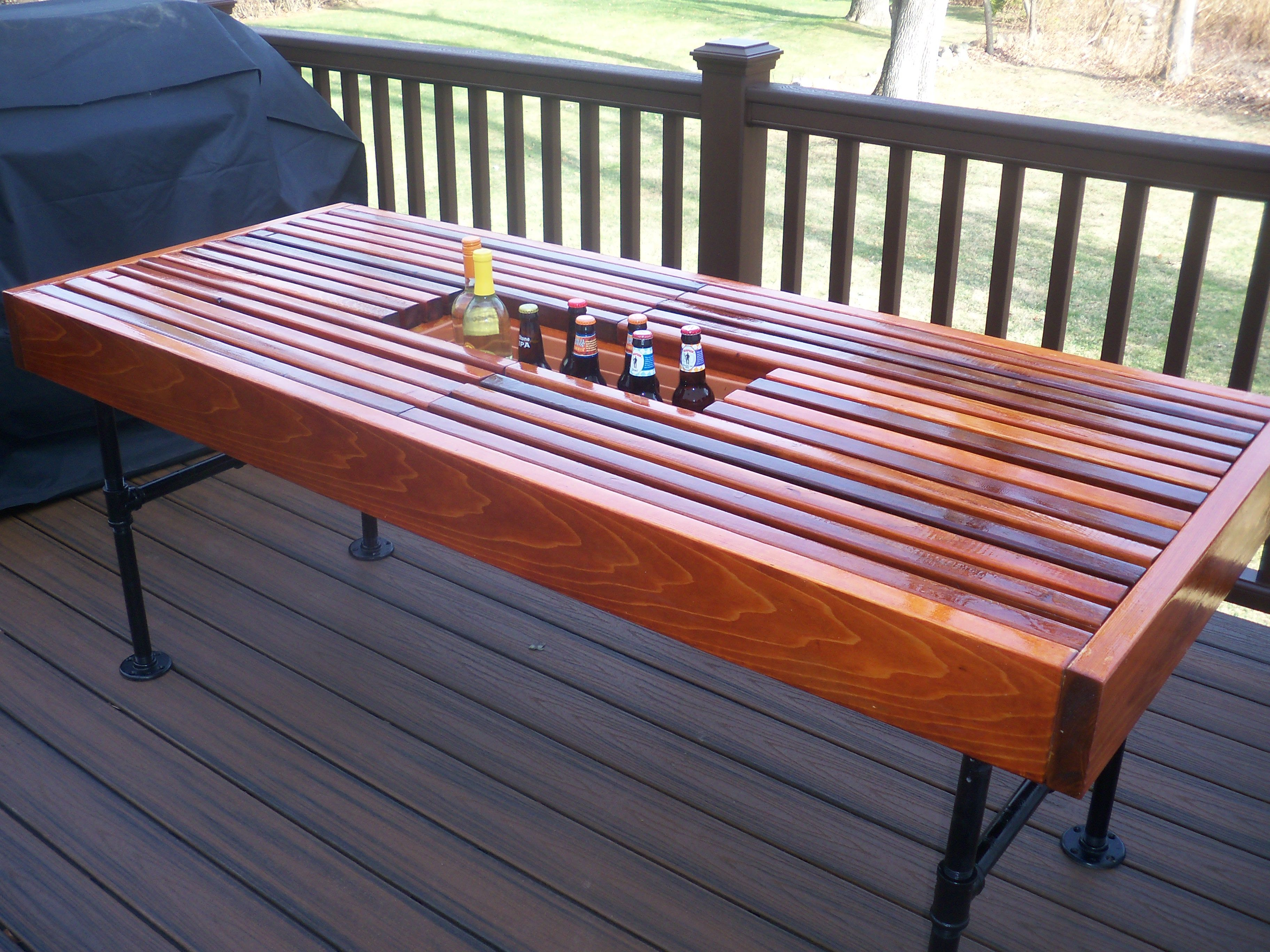 Pin On Diy Cedar Outdoor Table With Built In Wine Amp Beer