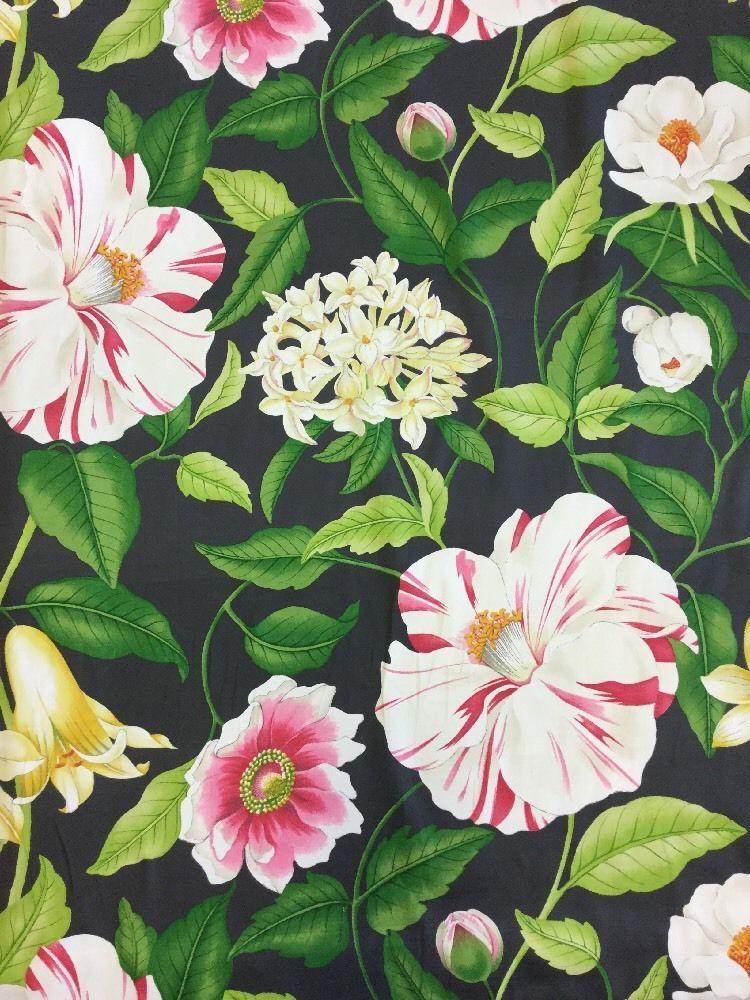 Details about Sanderson Floreanna Ebony Cotton Print By