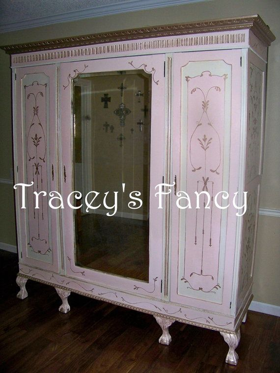 Furniture Storage Vintage Antique French Armoire Wardrobe Closet Tbellion  Traceys Fancy Cottage Shabby Custom Painted Pink