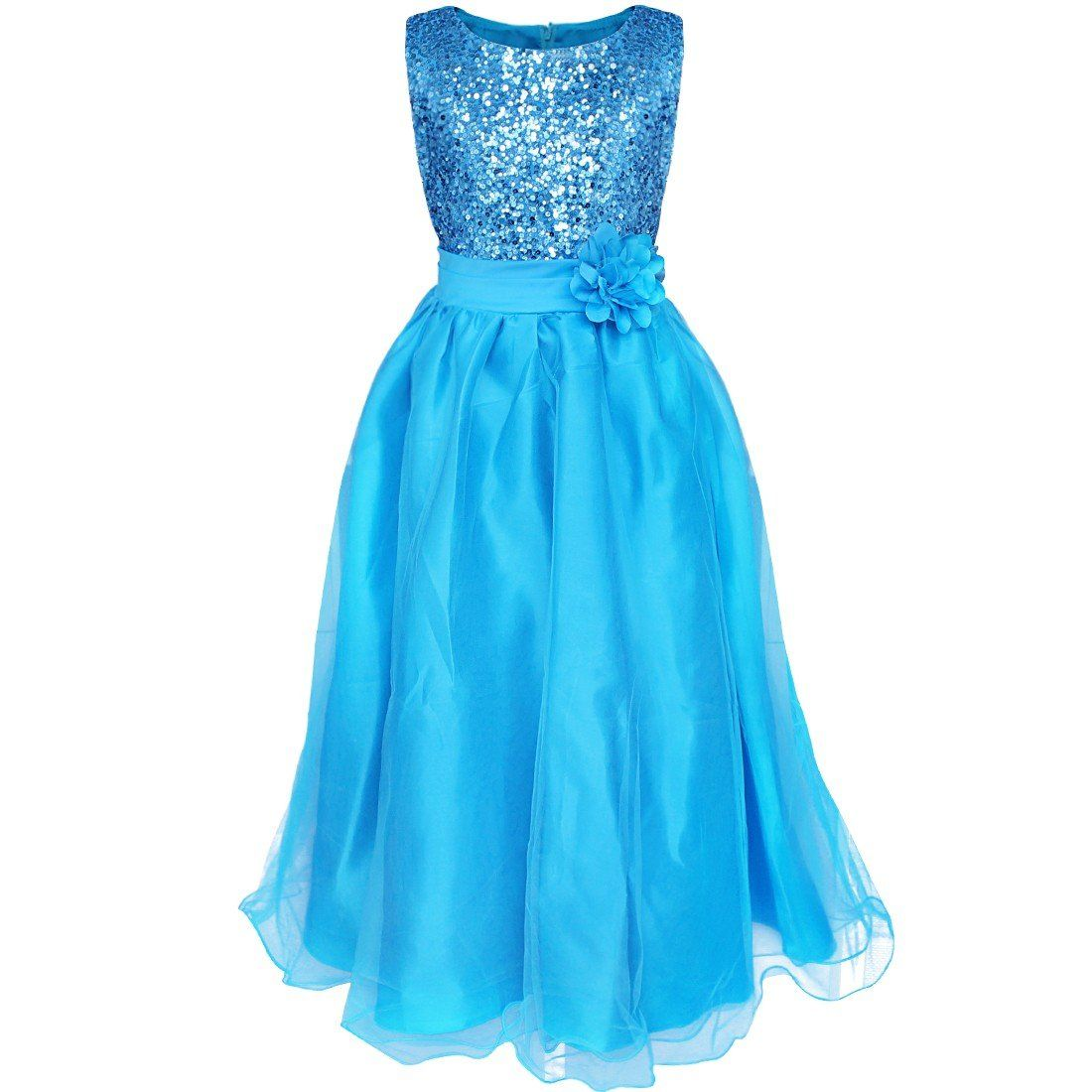 YiZYiF Kids Girls Sequined Wedding Dress Bridesmaid Formal Christmas ...