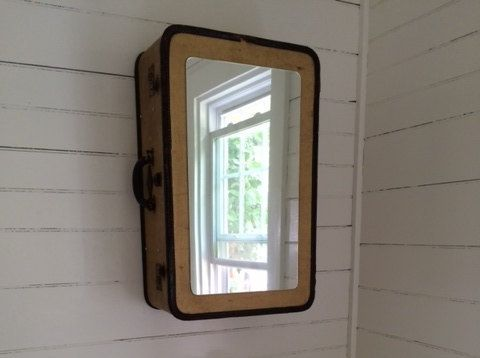 Vintage Luggage Medicine Cabinet, bathroom cabinet, medicine box, bathroom mirror, powder room, power room mirror, guest bath room mirror by RodneyAllenTrice on Etsy