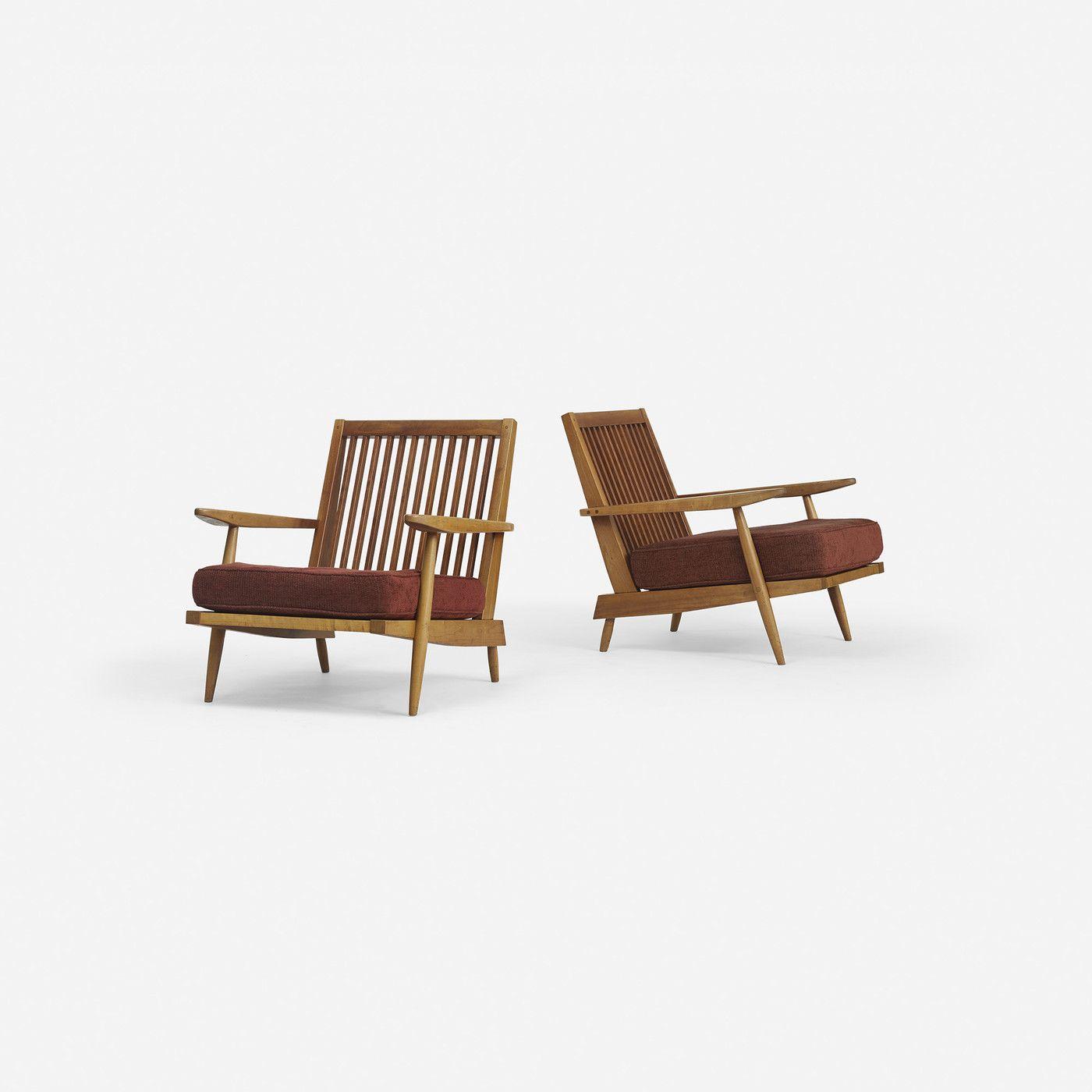 GEORGE NAKASHIMA Cushion Chairs with Arms, pair  USA, c. 1960 cherry, walnut, upholstery s11