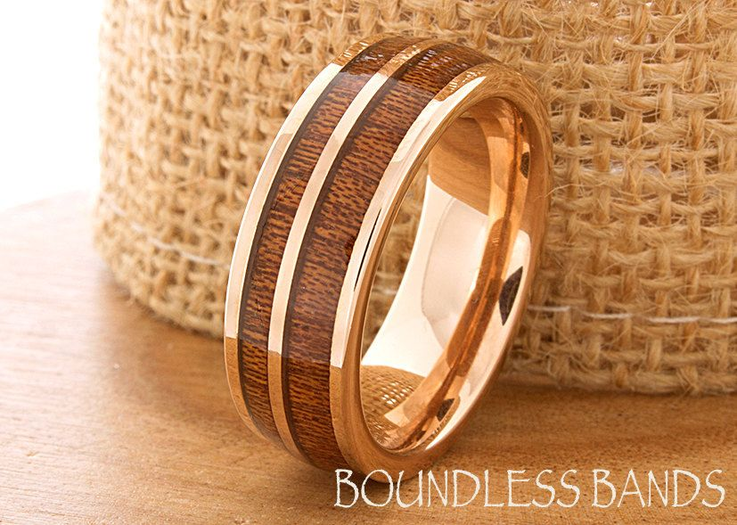 Hawaiian Koa Wood Inlay Ring Rose Gold Tungsten Wedding Band Dome Promise