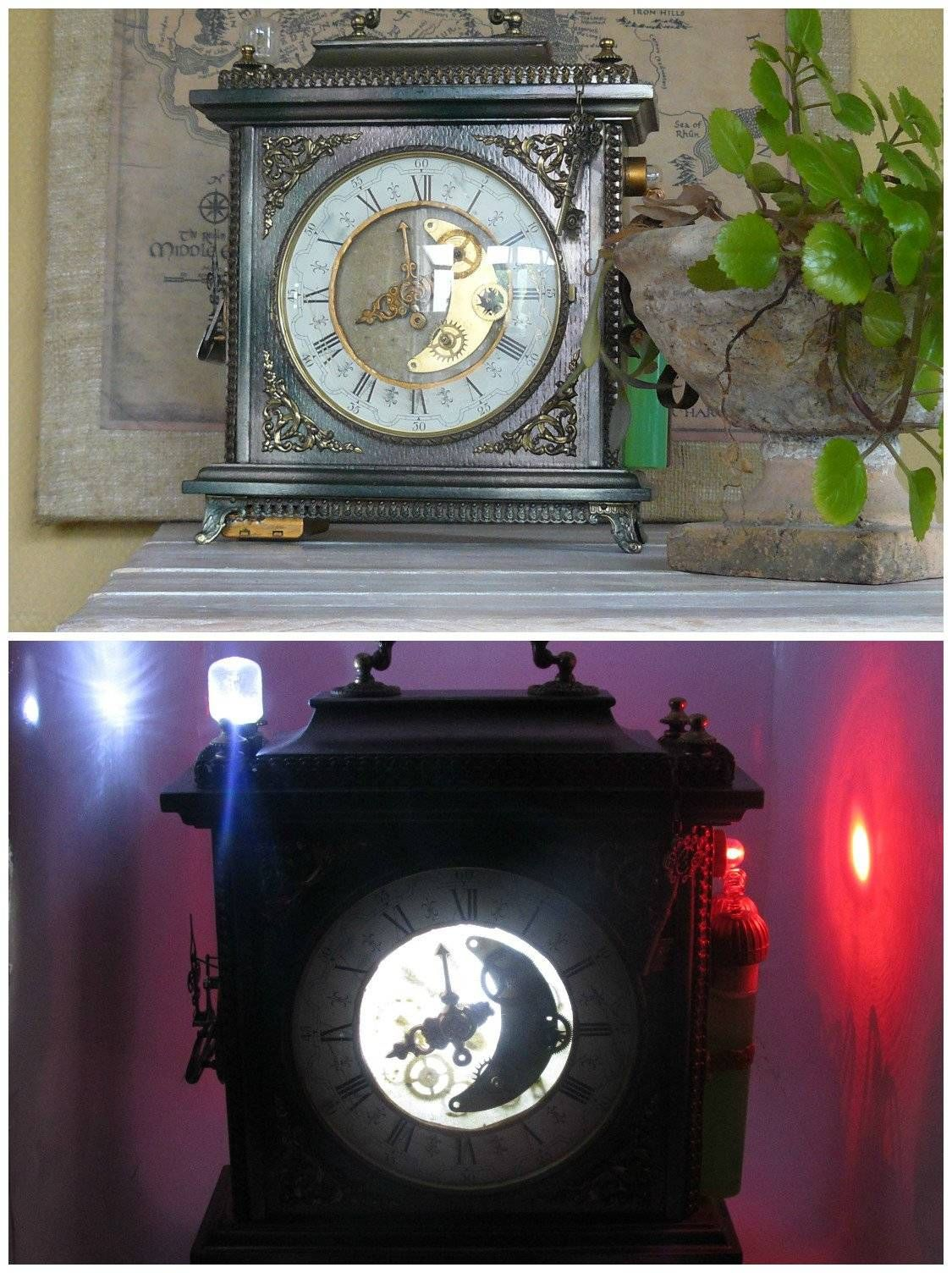 Steampunk Lamp From An Old Clock Craft Ideas Pinterest