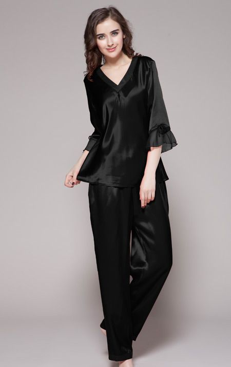 ensemble pyjama en soie pour femme noire 6 couleurs pyjama femme sexy en soie pinterest. Black Bedroom Furniture Sets. Home Design Ideas