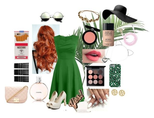 """Smoking green"" by audreyisadinosaur on Polyvore featuring NDI, Chicnova Fashion, Chanel, MAC Cosmetics, Armani Beauty, MAKE UP FOR EVER, Jennifer Behr, Lipsy, Forever 21 and Monki"