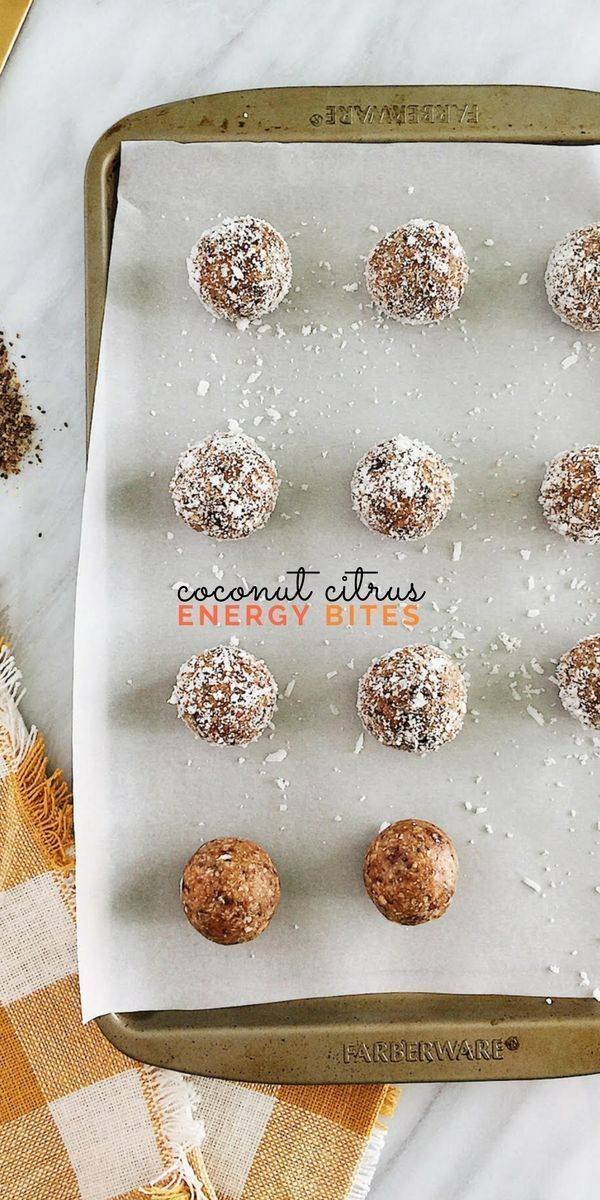 Coconut Citrus Energy Bites are wholesome little pick-me-ups. Vegan, gluten-free, and packed with fiber and protein, they also make great pre- or post-workout snacks.