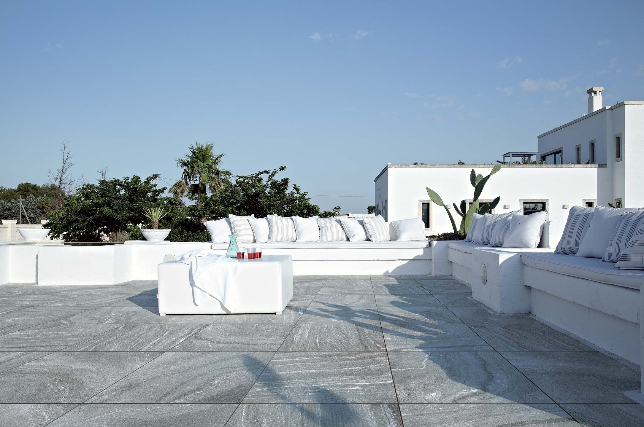 Grey self locking outdoor tiles with stone effect tech by floor