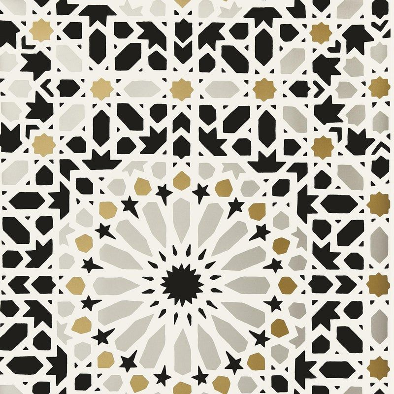Sample Schumacher Nasrid Palace Mosaic Wallpaper in Mica