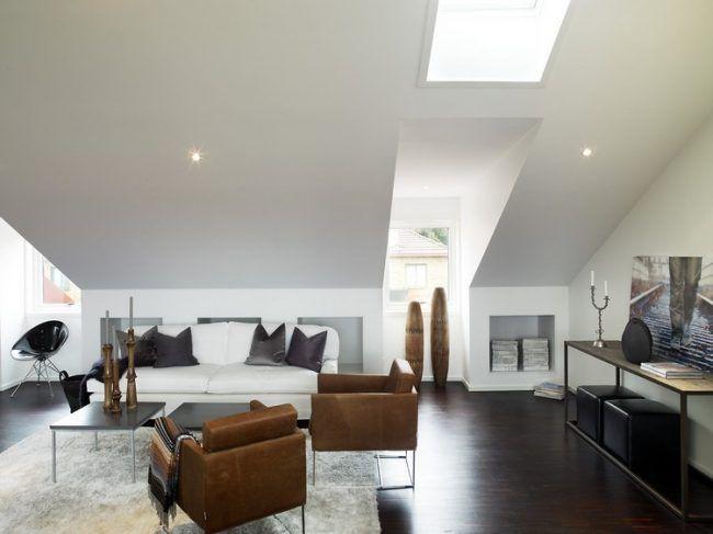 dachschraege-ideen-wohnzimmer-modern-hellgraue-farbe - wohnzimmer farben modern