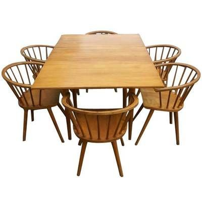 6 Russel Wright Conant Ball Dining Chairs And Rectangular Table