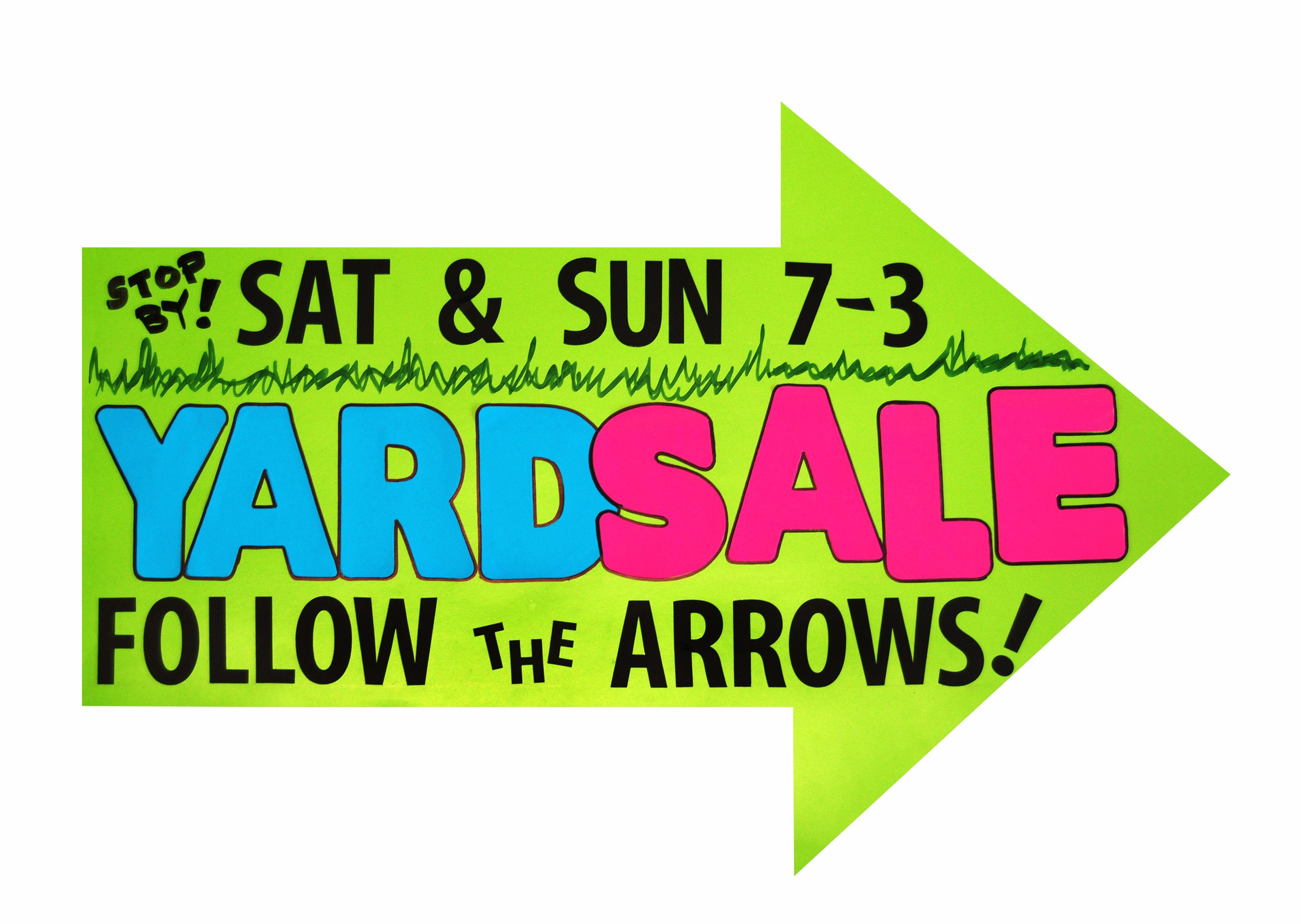 Yard Sale Arrow Yard Sale Sale Poster Yard