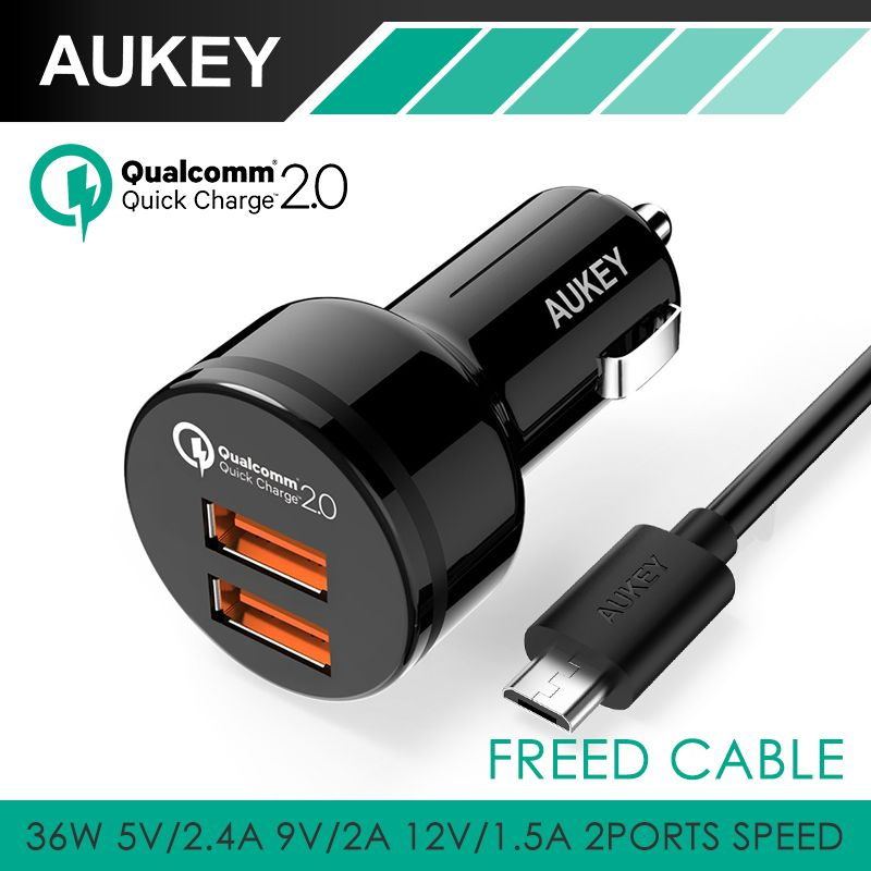 Aukey fast charging qc 20 36w 2 ports usb car charger