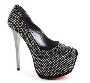 Cinderella Black Bling Sparkling Silver Diamante Crystal Mirror High Heel Stiletto Pump Shoes