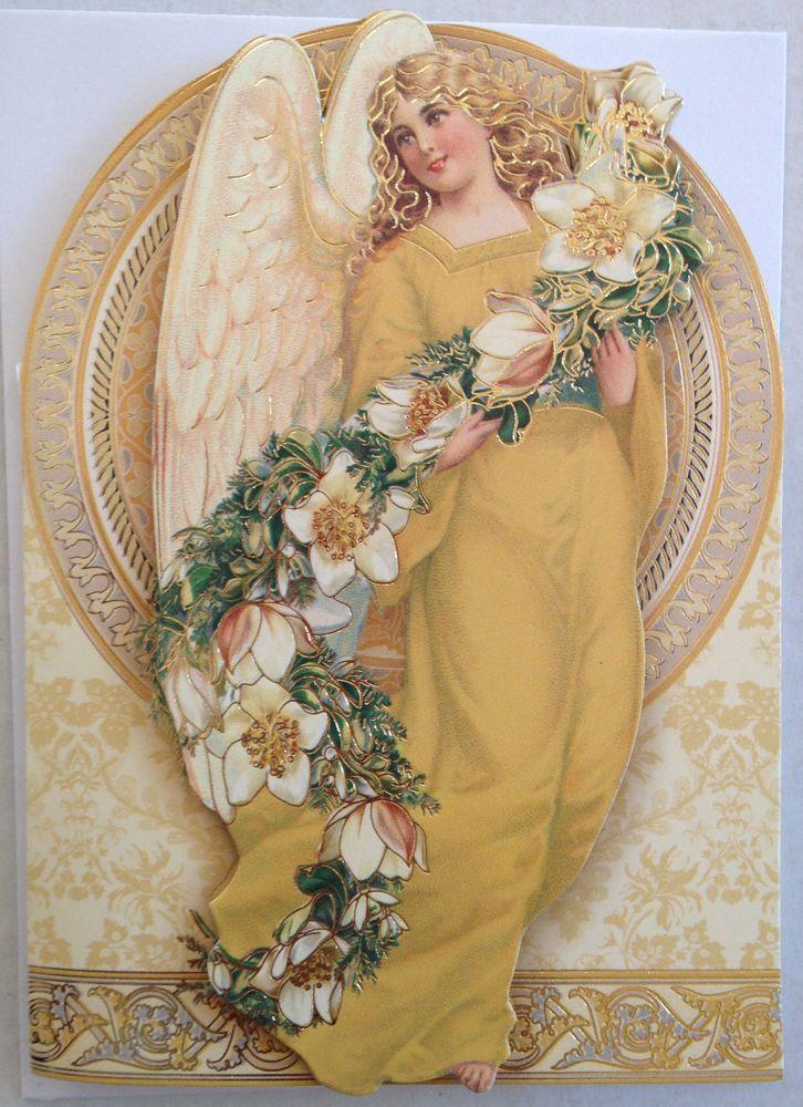 Punch Studio Christmas Cards Envelopes set 5 Golden Angel Floral ...