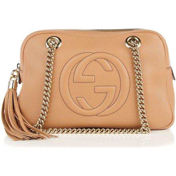 49c487890ed2 GUCCI Pebbled Calfskin Small Soho Chain Shoulder Bag Rose Beige ❤ liked on  Polyvore featuring bags, handbags, shoulder bags, zipper handbag, tassel  handbag ...