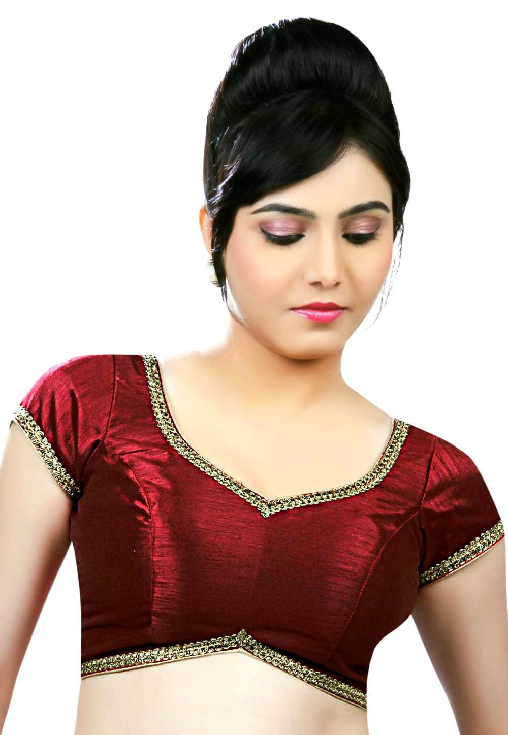 8232c2113a03c6 Art Silk Padded Blouse in Maroon This Readymade Short Sleeve piece is  designed with Dangles, Lace and Patch Border Work It has a back hook  closure Do note: ...
