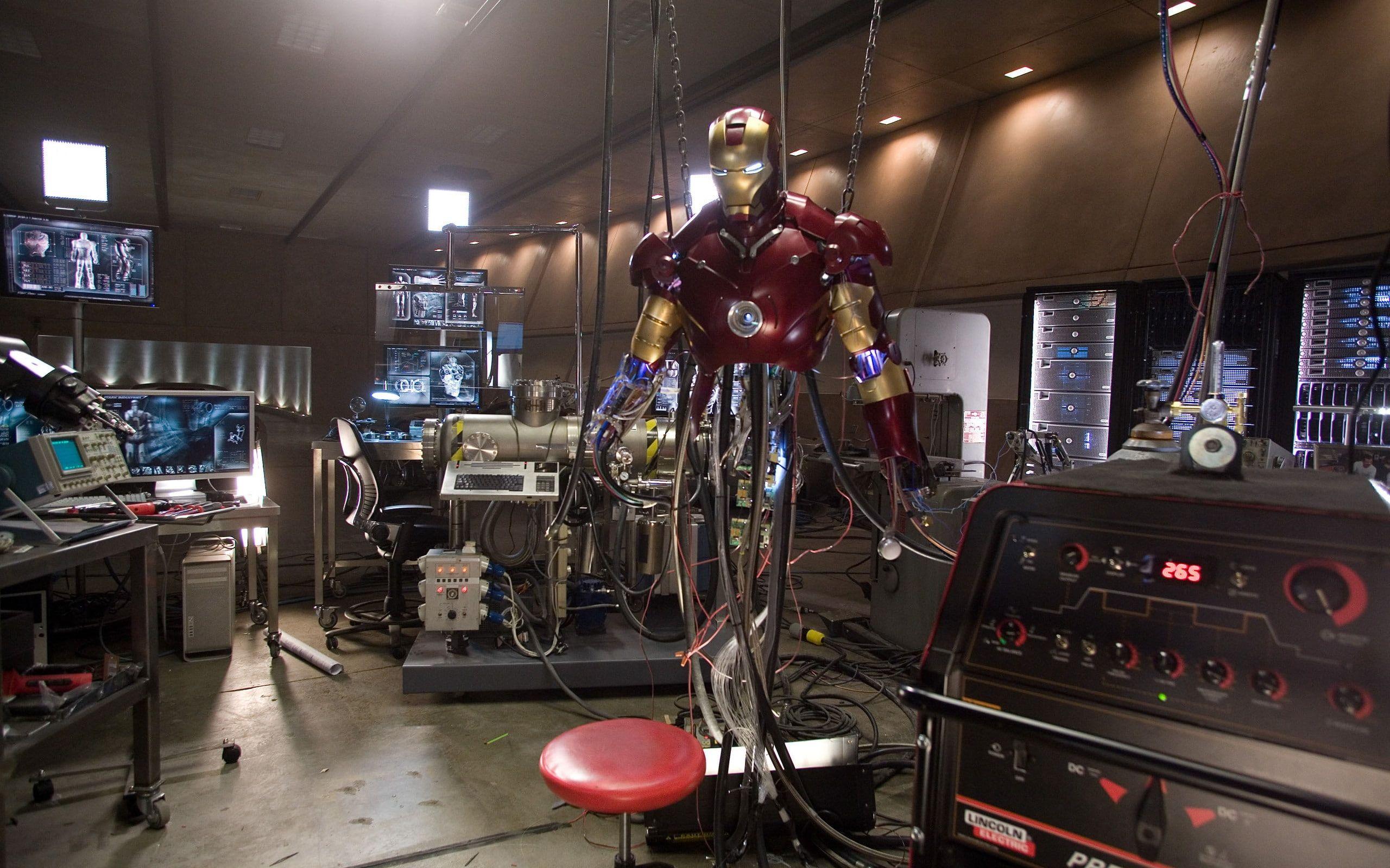 Iron Man Laboratory movie poster 2K wallpaper