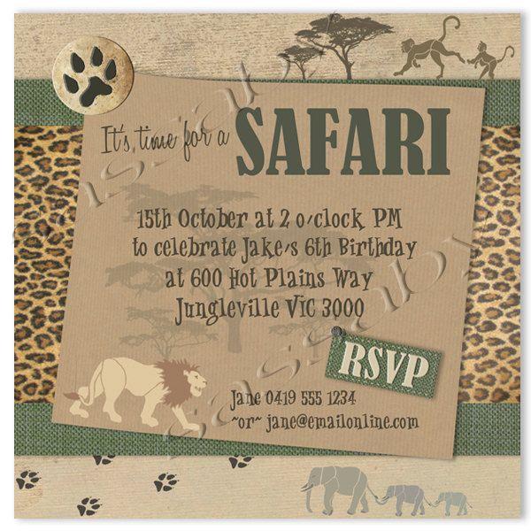 safari party invitation instant download partially editable