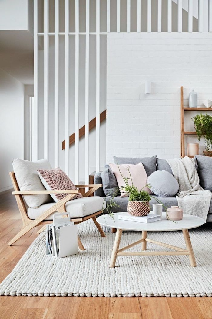 Wand Streichen Ideen Wohnzimmer, Einrichtung Im Landhausstil, Geflochtener  Teppich, Holzboden