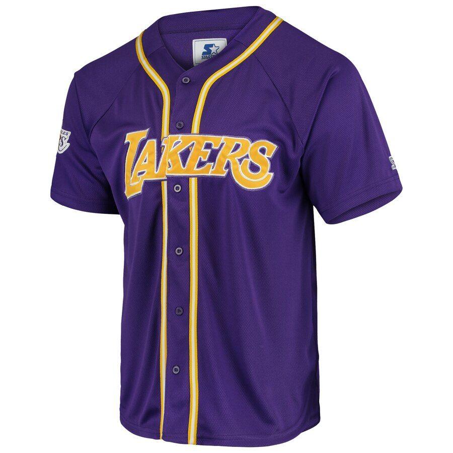 Men's Los Angeles Lakers Starter Purple Legacy Baseball Jersey ...