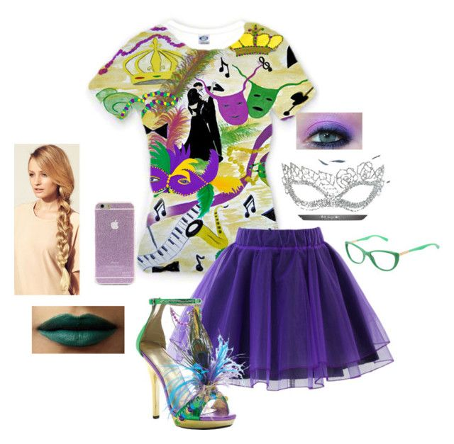 """""""Mardi Gras"""" by iluvmusic-1 on Polyvore featuring Chicwish, Masquerade, Ellie, Hershesons, BHCosmetics and Dolce&Gabbana"""