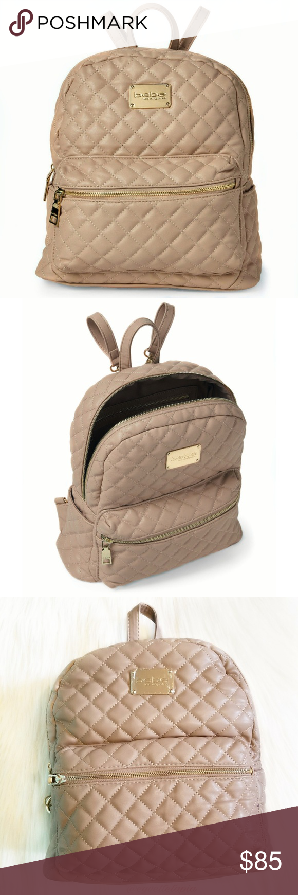 New!! Bebe large quilted maria backpack in taupe New with tags!!  quilted faux-leather  uppergold-toned metal bebe® logo accent front zippered pocket side slip pockets zippered top closure fabric lined interior with zip, slip and cell pockets handle with 3.5