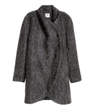 6f65ee8f Kort kåpe i ullmiks | Mørk grå | Dame | H&M NO | outfit | Coat ...