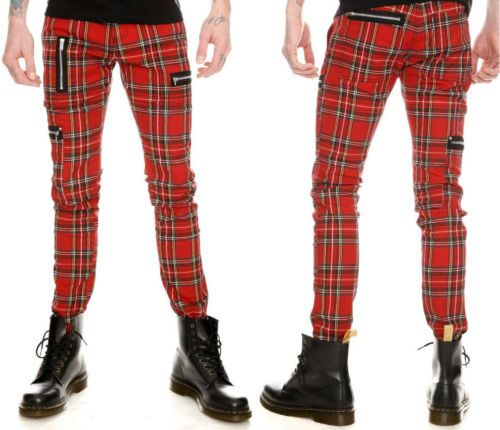 New Royal Bones Red Plaid Skinny Pants Tripp Nyc Gothic Punk 32x32