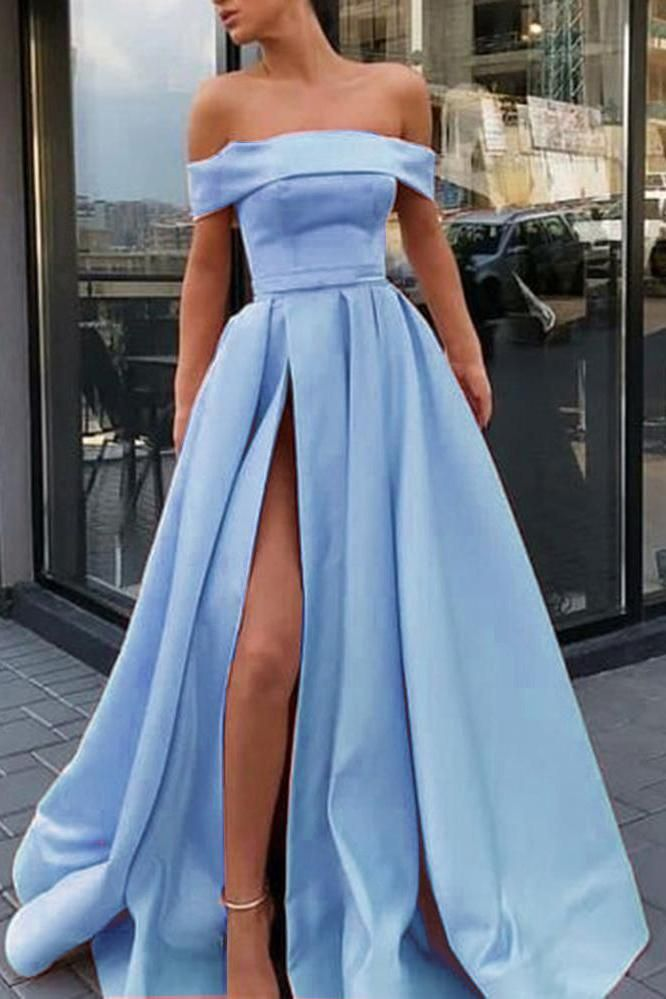 A Line Off the Shoulder Satin High Slit Yellow Prom Dresses, Long Formal Dresses PW417 #bluepromdresses