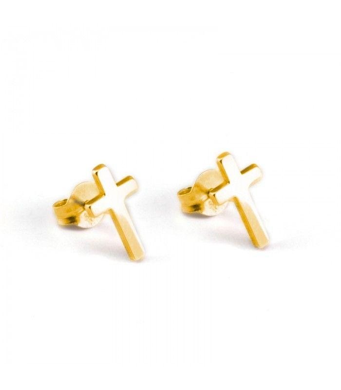 3cefb92ccee3 Par de pendientes pequeños de oro de primera ley con forma de cruz.   pendientes  earrings  joyas  jewelry  plata  silver