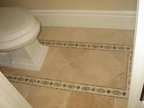 Limestone bathroom floor with border | Floor Boder | Pinterest ...