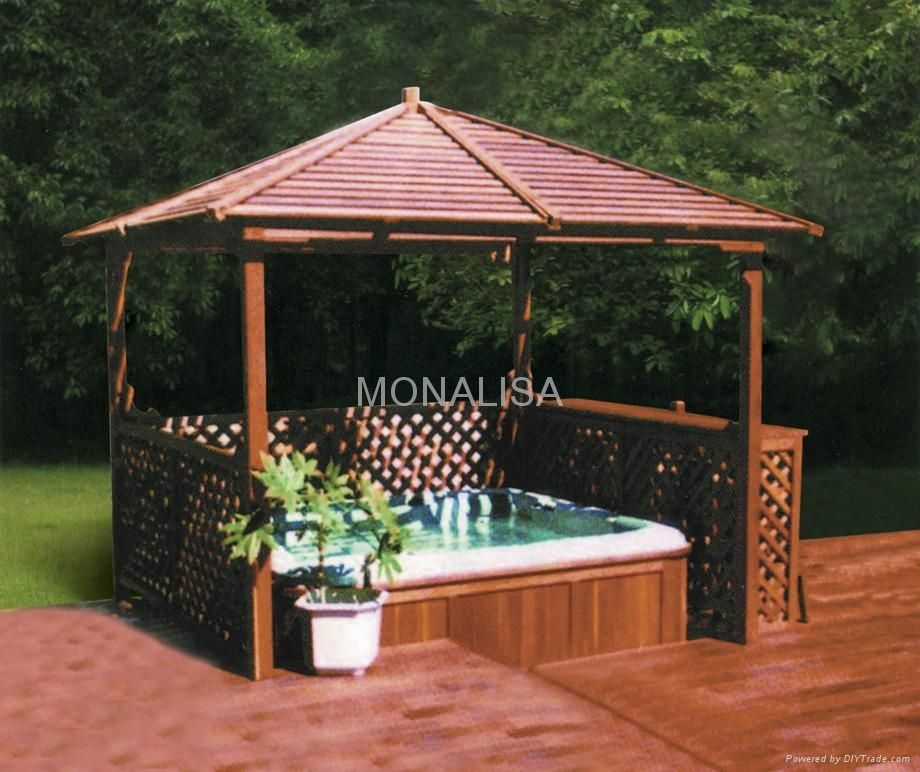 Outdoor enclosures made with lattice and pavers spa for Wooden gazebo for hot tub