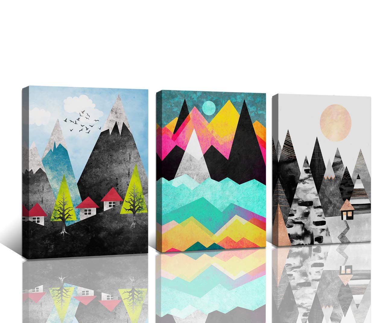 Wall Artworks Pictures Abstract Geometric Forest Sunset Canvas Prints For Bedroo Geometric Decor Painting Abstract Canvas Wall Art Canvas Wall Art Contemporary