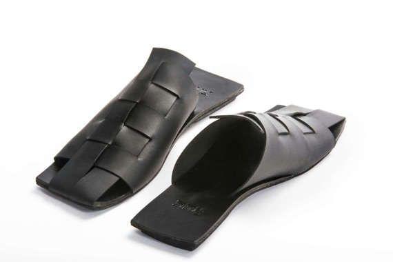 56b96ab5a0f6a Slip on leather, Black slip-on, Leather Black flats, Open back ...