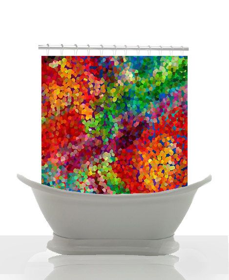 Artistic Shower Curtain Color Theory Abstract Art Red Blue Green Orange Unique Colorful Decor Home