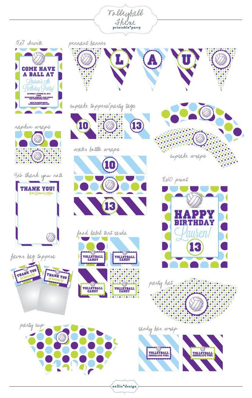 Volleyball Party Printable Designs 35 00 Via Etsy Volleyball Birthday Party Volleyball Party Party Printables