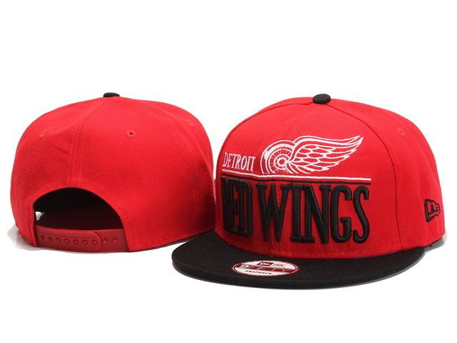 07ae07954ae NHL Detroit Red Wings New Era Snapback Hats Caps Black Red 5026! Only   8.90USD