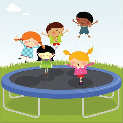 Image result for kids jumping on trampoline clipart | Infantil, Convite