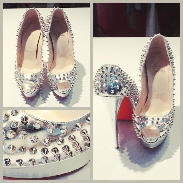 Just in! The lady peep with spikes in silver patent! Come get in before it sells!!;) #ladypeep #christianlouboutins #silver #spikes #patent #louboutins #consignment #consign #consignary #forsale #heels #shoes #redbottoms