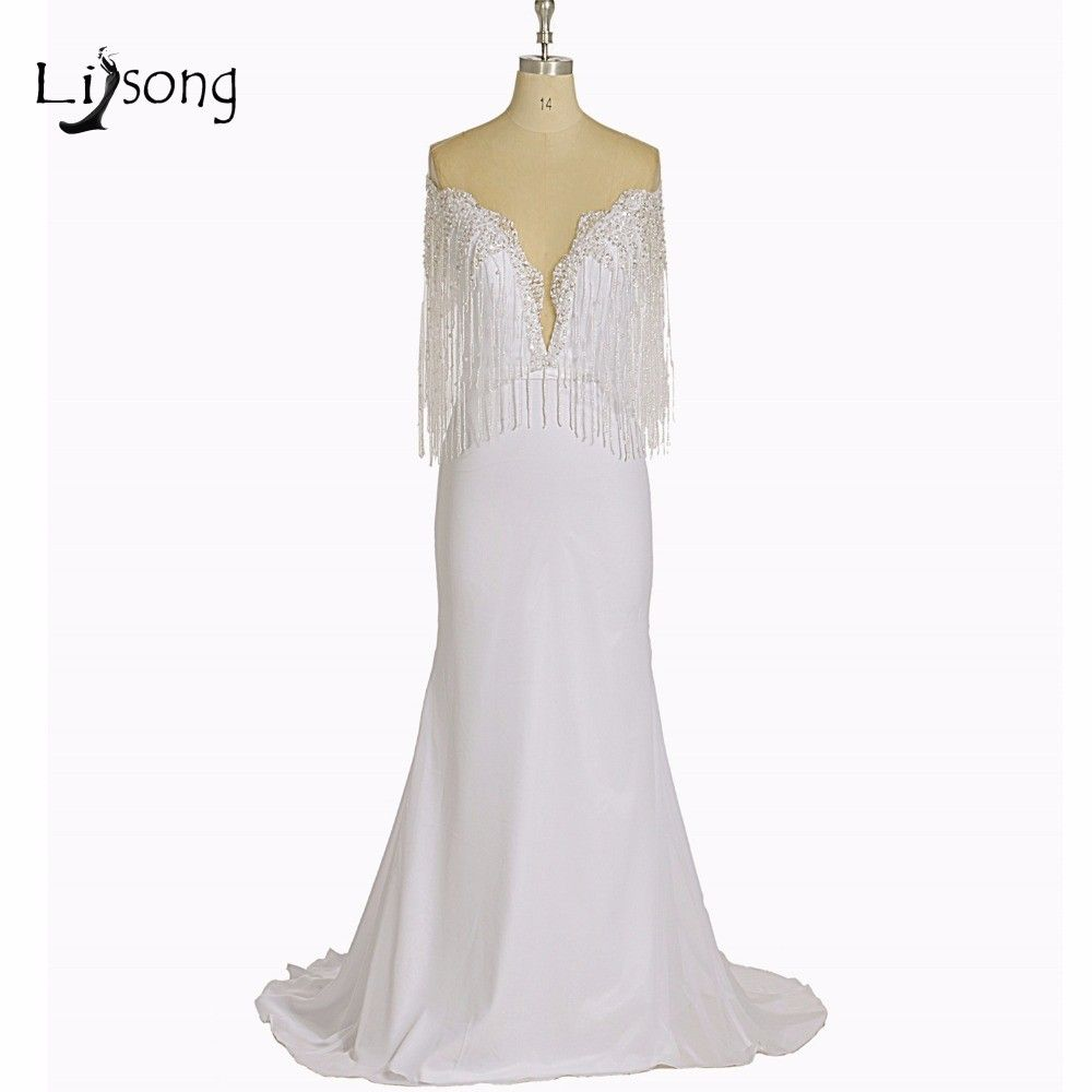 Click to buy ucuc modern white mermaid evening dresses beaded tassel