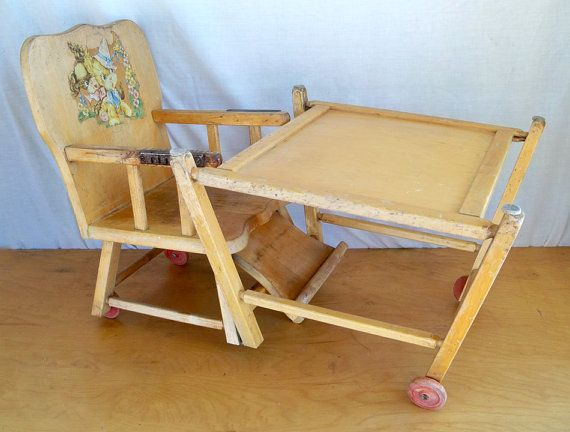 Prime 1940S Baby High Chair Convertible To Low Chair On Wheels Spiritservingveterans Wood Chair Design Ideas Spiritservingveteransorg
