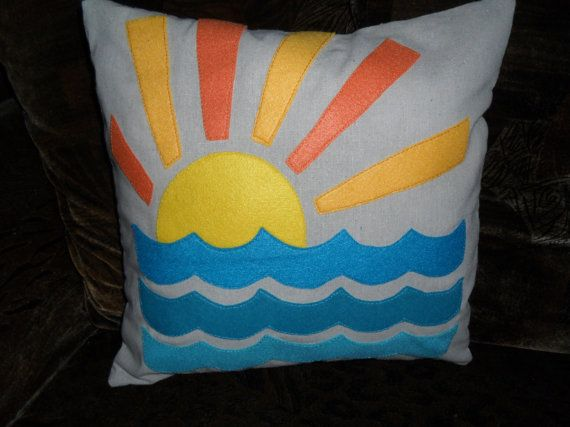 Retro sunset 3 ocean waves felt applique pillow cover 16 x 16 inches