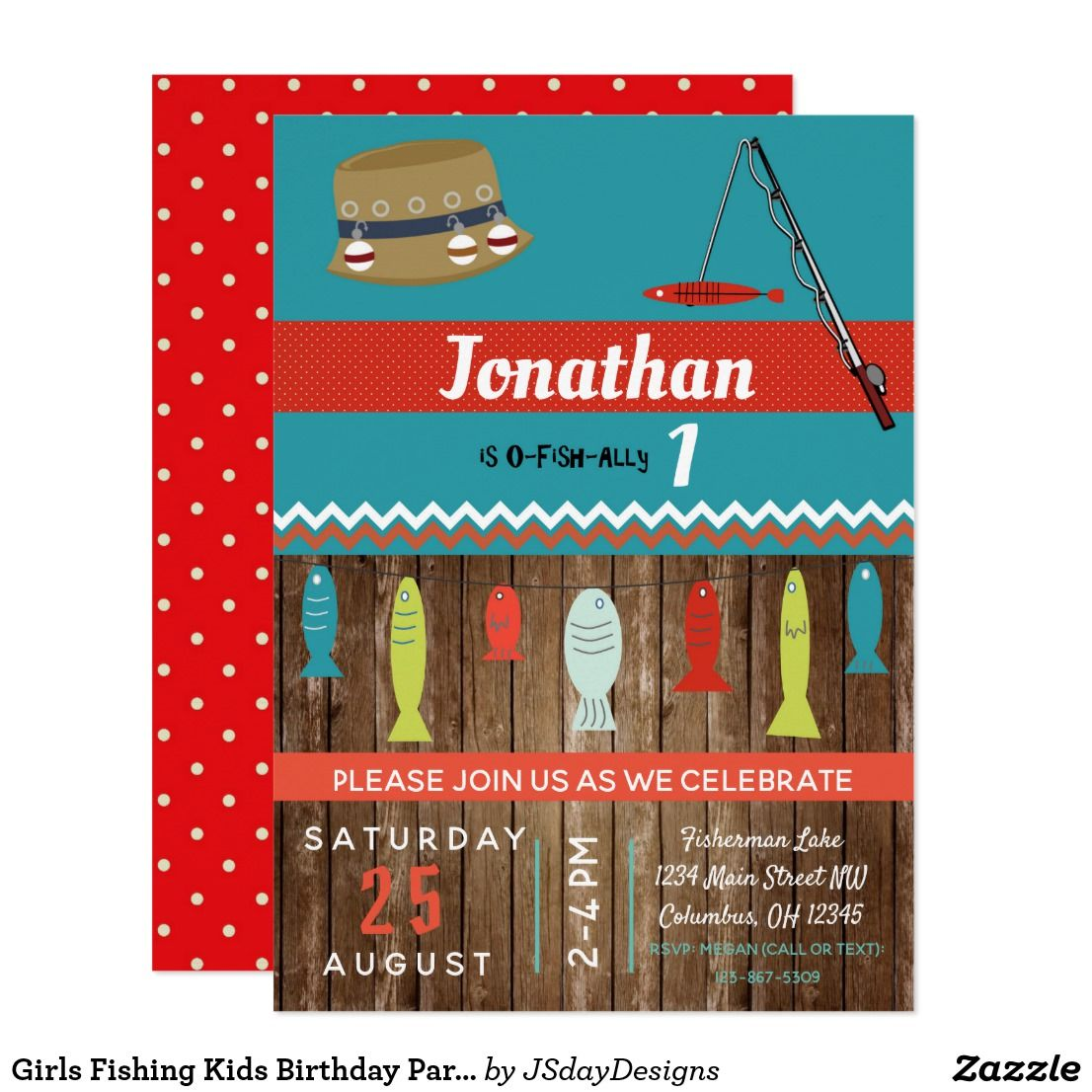Girls Fishing Kids Birthday Party Invite   New!! Products available ...