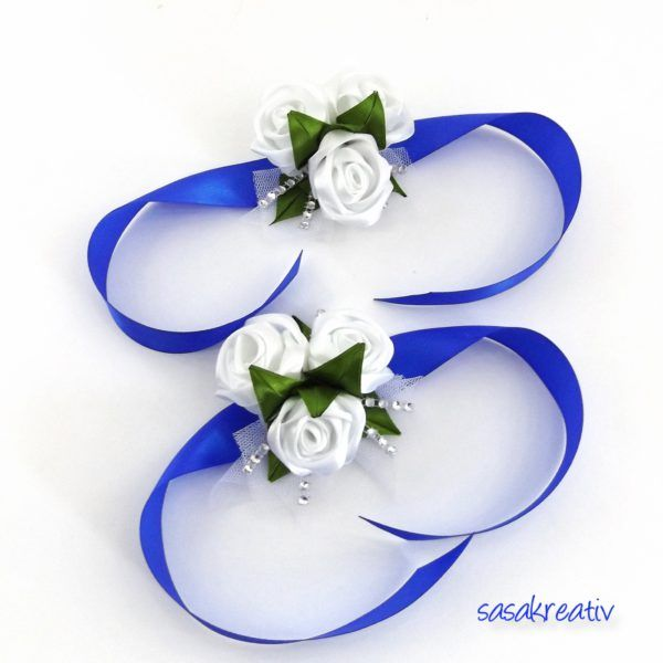 Kék-fehér szatén rózsás csuklódísz  e46f0d1282