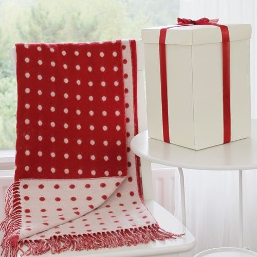 Foxford Irish Made Red Spot Lambswool Blanket and Gift Box