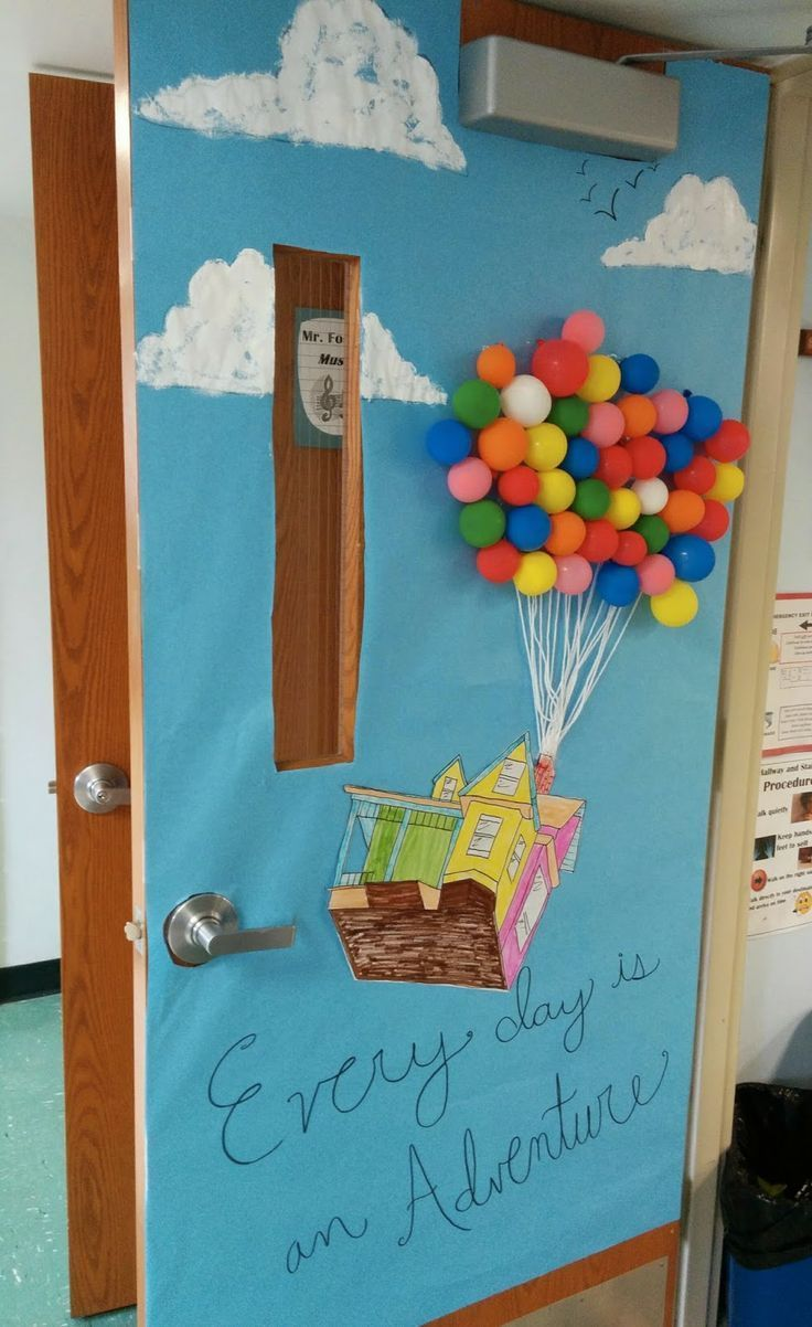 Classroom Windows Decoration Ideas : Classroom door decor for spring quot up disney pixar