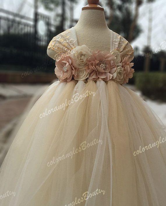 Flower girl dress Lace chiffton flowers Ivory champagne tutu dress baby dress toddler birthday dress wedding dress 1-8T