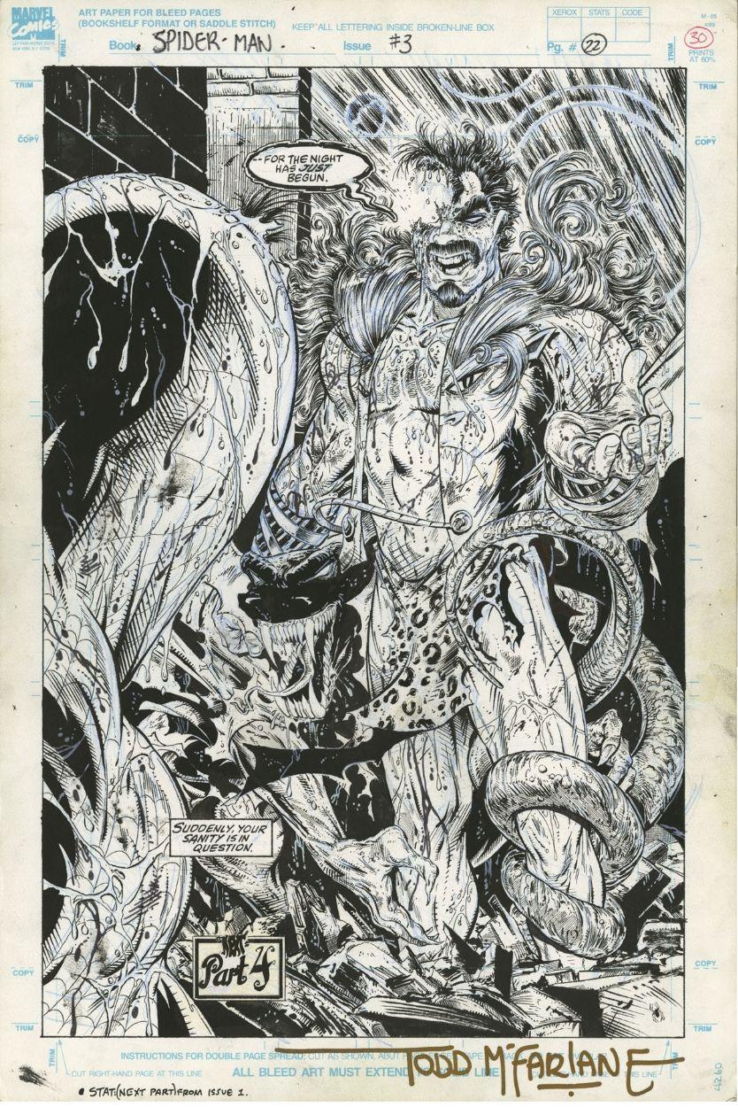 Spider-man #3 Finale Splash 1990 Todd Mcfarlane Kraven And Lizard Comic Art
