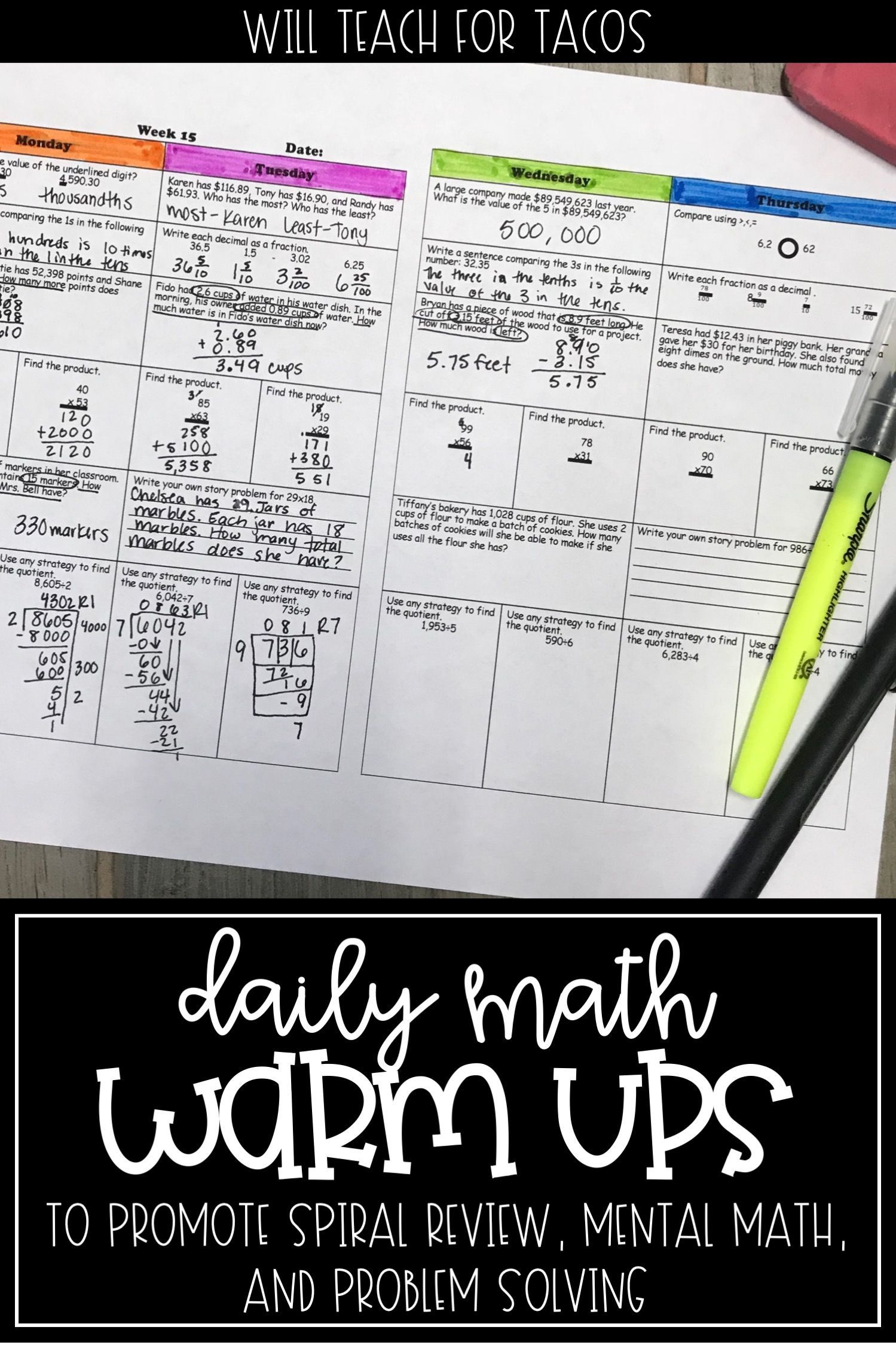 Daily Math Warm Up Activities